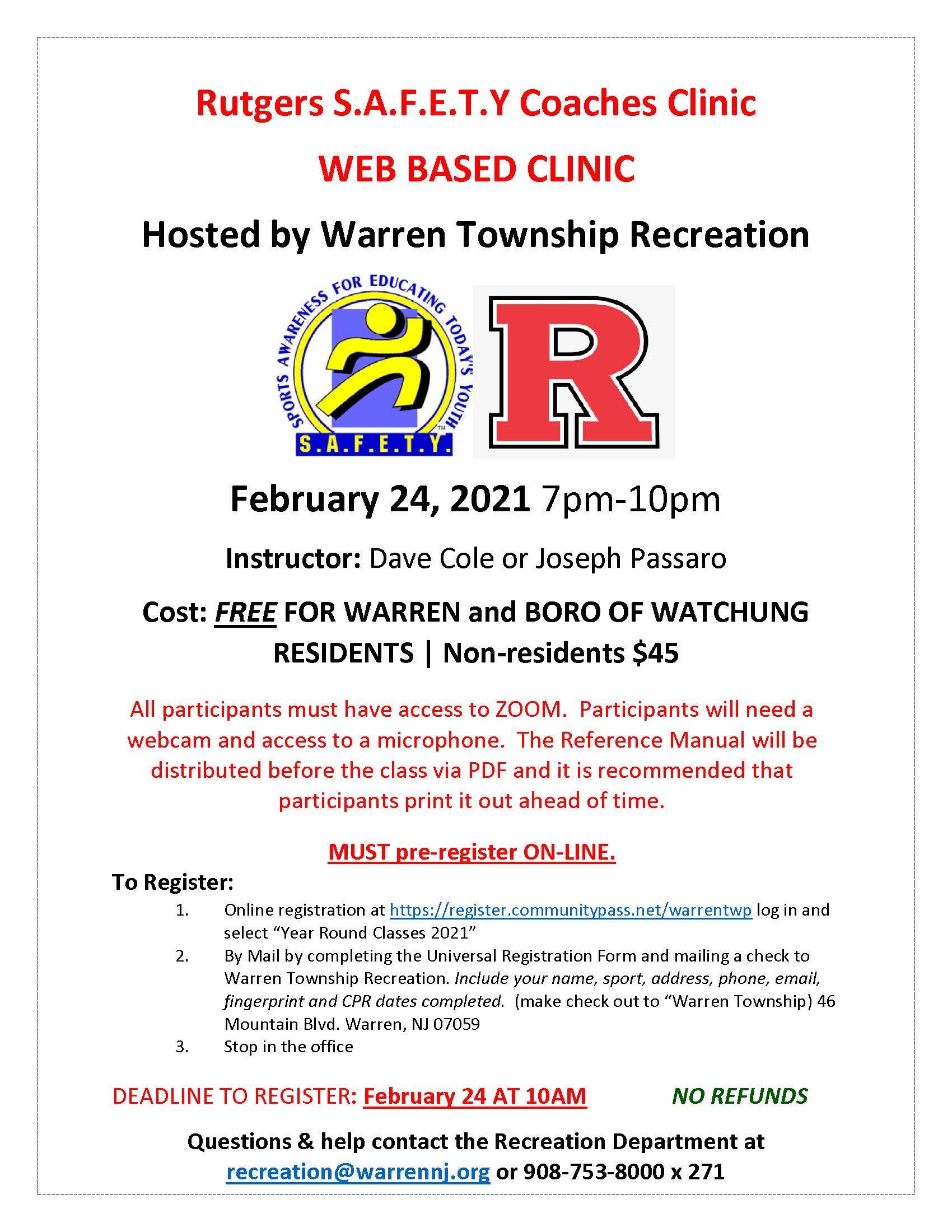 Rutgers SAFETY Coaches Clinic 2-24-2021 flyer